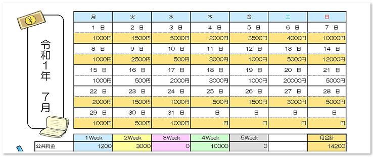 家計簿のテンプレートをダウンロード