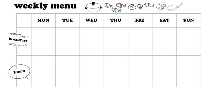 かわいい!一週間のレシピ・献立表(エクセル・ワード)無料テンプレート