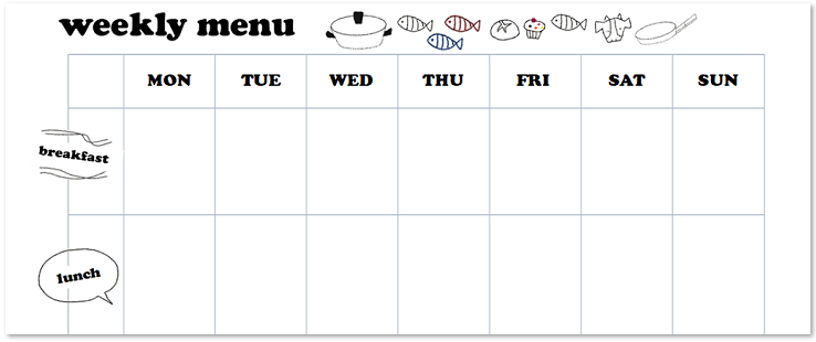 一週間の給食や献立表が簡単に作成出来るテンプレート