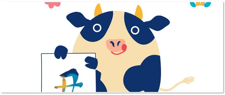 牛「丑」の字の書き初め年賀状素材