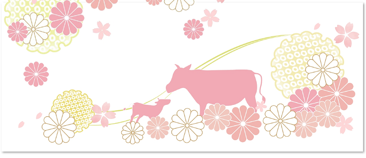 桜の花と牛の親子のイラスト