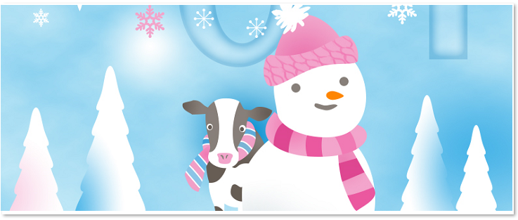 雪だるまと牛のテンプレート