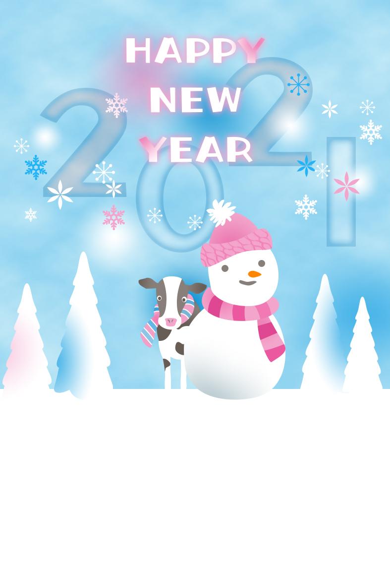 年賀状!干支の子牛&雪だるま・風景イラストの無料テンプレート