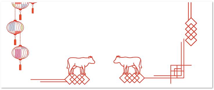 赤べこ&スタンプ風のイラスト